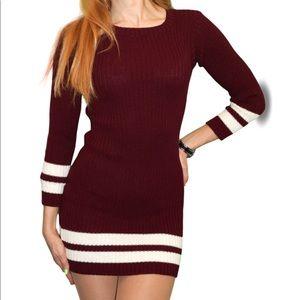 Knit Sweater Dress | Red Wine with stripe